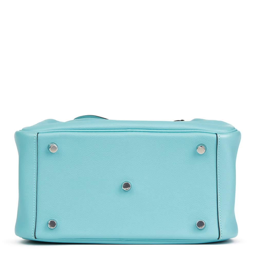 c8a70ea9a529 Hermès Blue Atoll Evercolour Leather Lindy 26