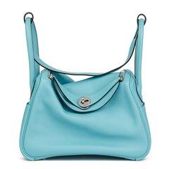 Hermès Blue Atoll Evercolour Leather Lindy 26