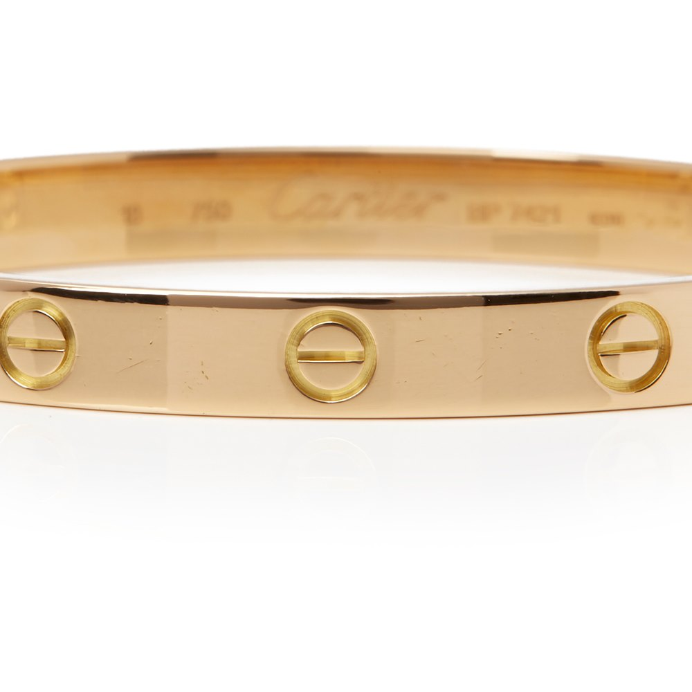 Cartier 18k Yellow Gold Love Bangle Size 18