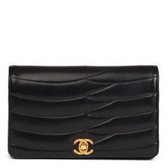 Chanel Black Wave Quilted Lambskin Vintage Classic Clutch