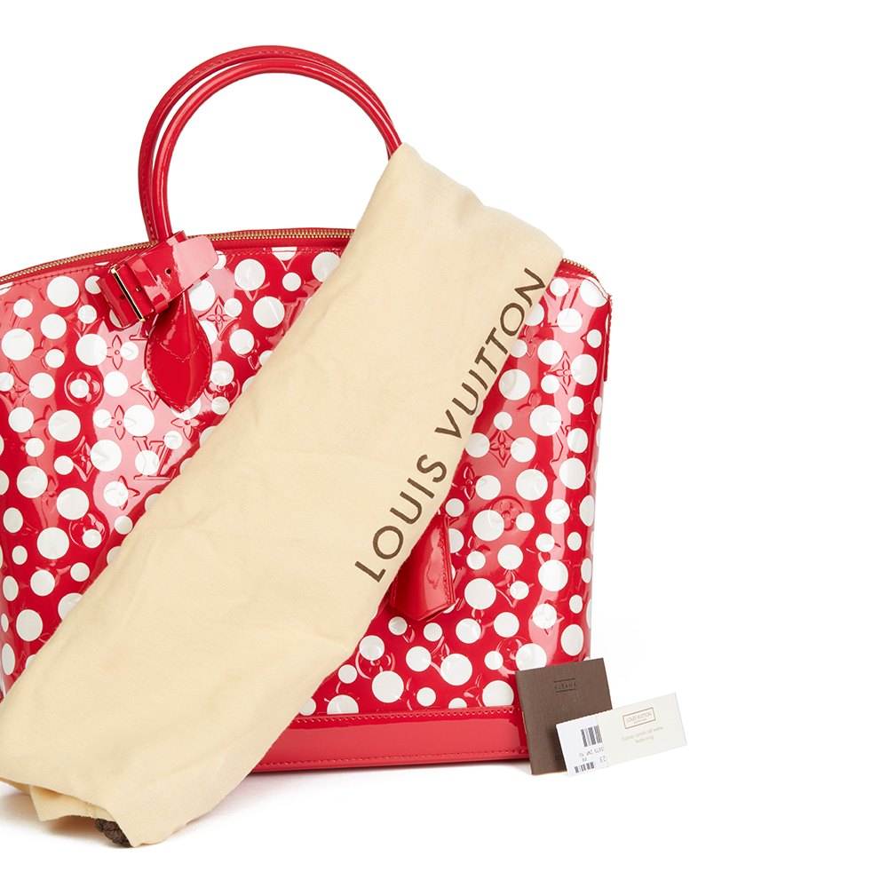 Louis Vuitton Red Vernis Leather Dots Infinity Yayoi Kusama Lockit MM