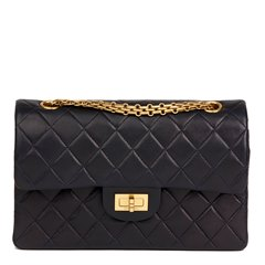 Chanel Navy Quilted Lambskin Vintage Small Classic Double Flap Bag