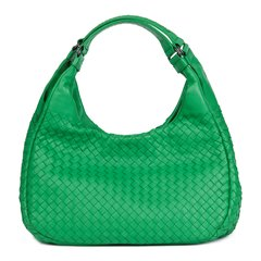 Bottega Veneta Irish Green Woven Lambskin Medium Campana Bag