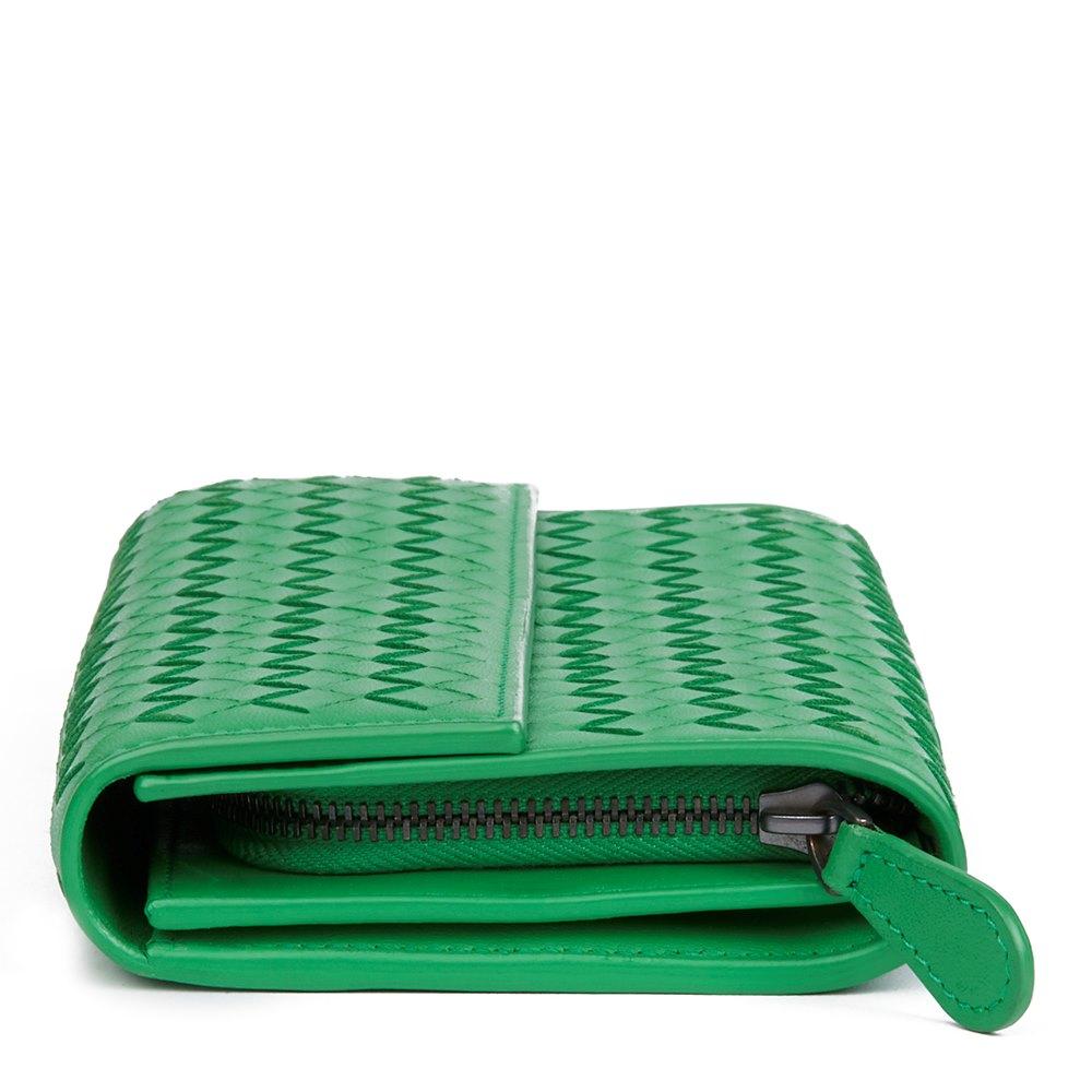 2d38110e39 Bottega Veneta Irish Green Woven Lambskin Continental Wallet