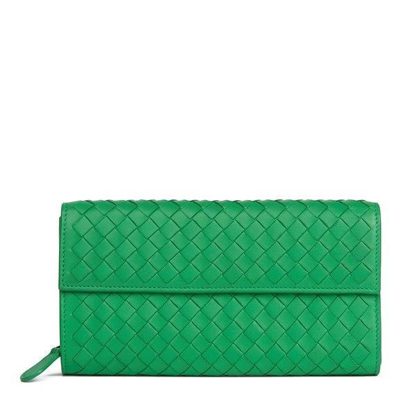 Bottega Veneta Irish Green Woven Lambskin Continental Wallet