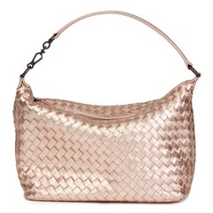 Bottega Veneta Rose Gold Woven Metallic Grosgrain Calfskin Leather Small Shoulder Bag