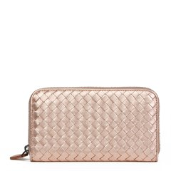 Bottega Veneta Rose Gold Woven Metallic Grosgrain Calfskin Leather Zip Around Wallet