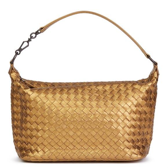 Bottega Veneta Bronze Woven Metallic Grosgrain Calfskin Leather Small Shoulder Bag
