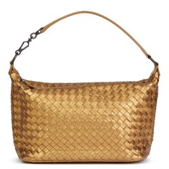 Bottega Veneta Bronze Woven Metallic Grosgrain Calfskin Leather Small Shoulder Bag