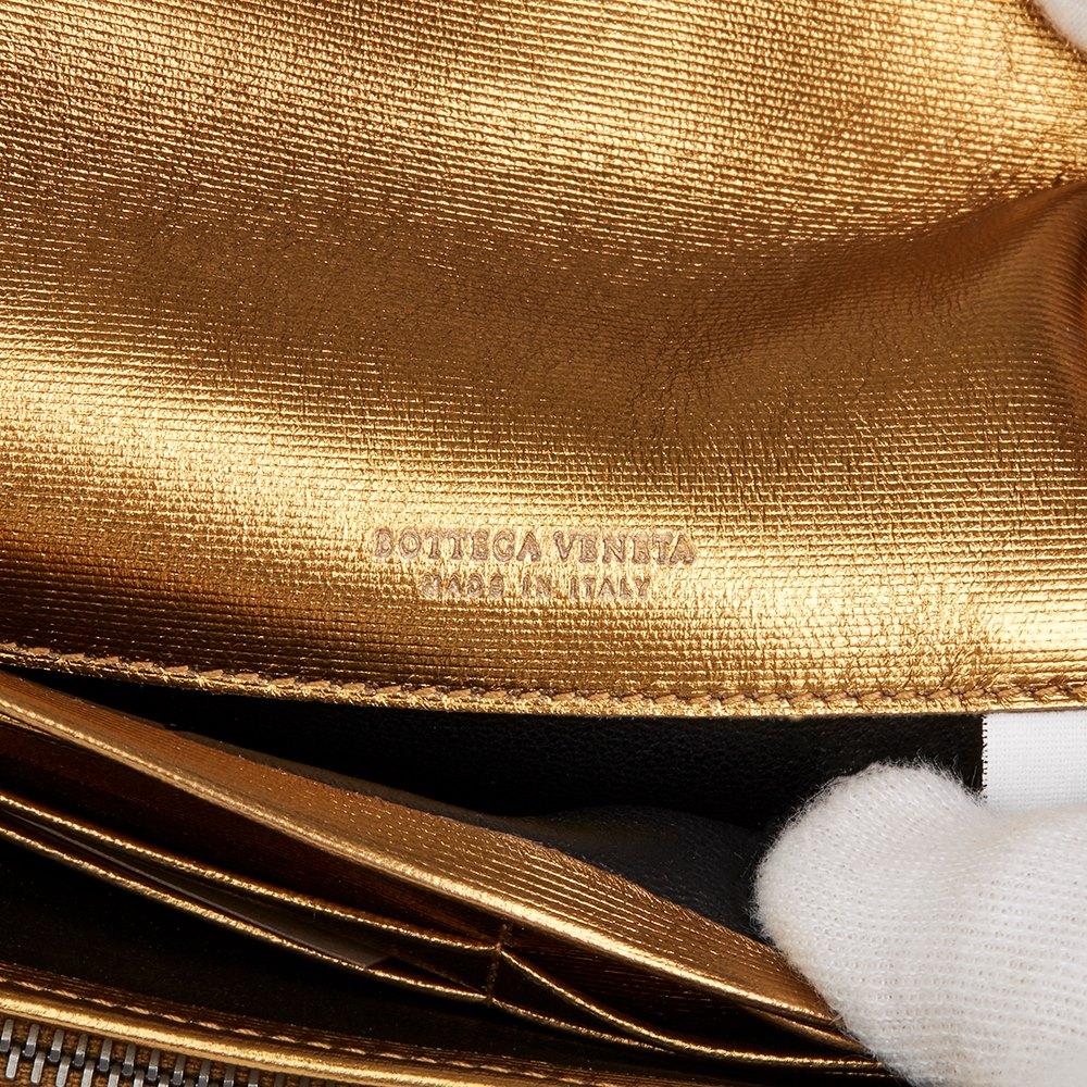 Bottega Veneta Bronze Woven Metallic Grosgrain Calfskin Leather Continental Wallet
