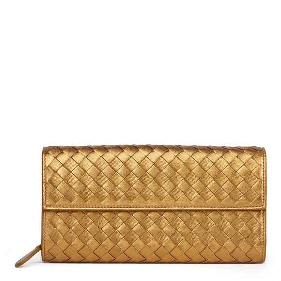 Bottega Veneta Bronze Woven Metallic Grosgrain Calfskin Leather Continental Wallet