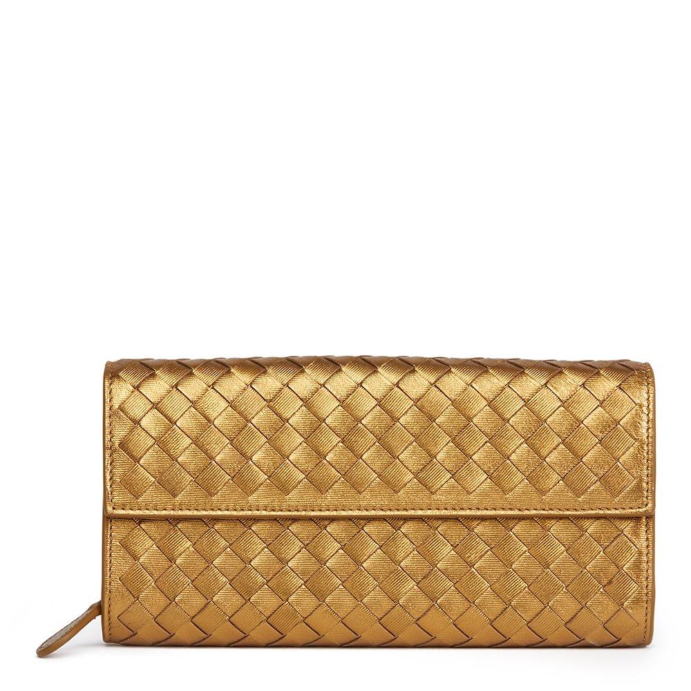 af7d2fdd7aba Bottega Veneta Bronze Woven Metallic Grosgrain Calfskin Leather Continental  Wallet