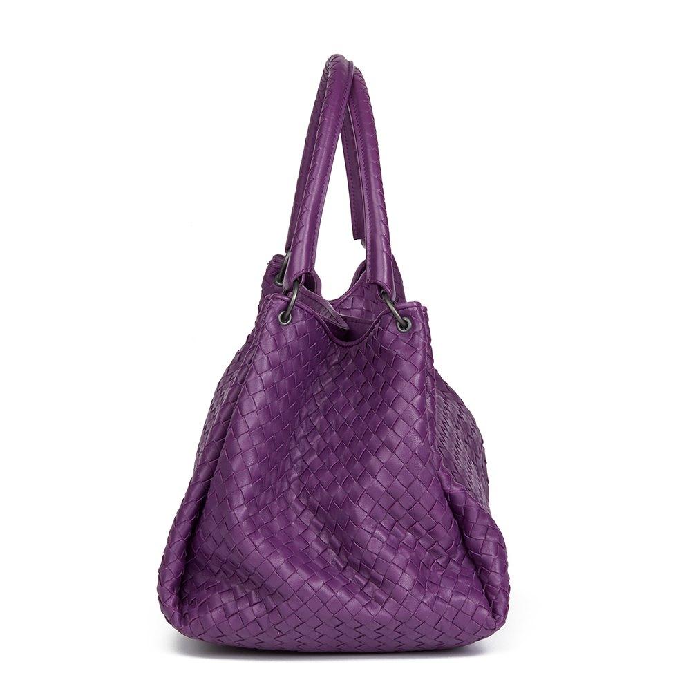 15d6961cf4 Bottega Veneta Corot Purple Woven Lambskin Parachute Bag