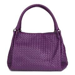 Bottega Veneta Corot Purple Woven Lambskin Parachute Bag