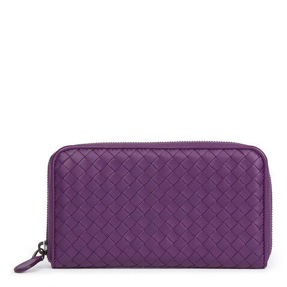 Bottega Veneta Corot Purple Woven Lambskin Zip Around Wallet