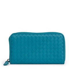 Bottega Veneta Brighton Woven Lambskin Zip Around Wallet