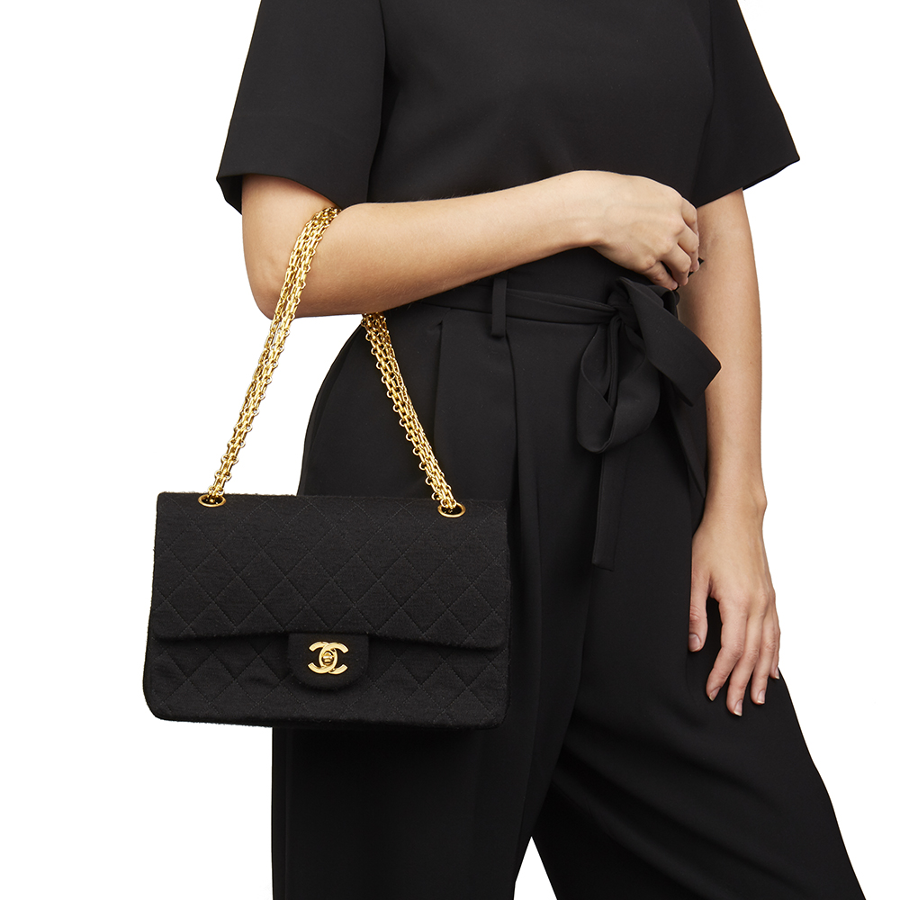 79209725cc2e65 Chanel Black Quilted Jersey Fabric Vintage Medium Classic Double Flap Bag