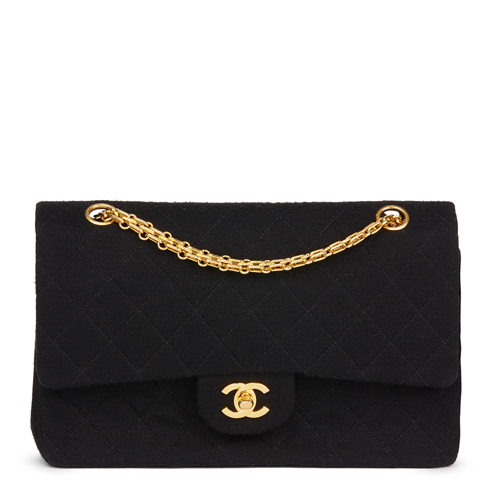 b4fafb06a90f Chanel Black Quilted Jersey Fabric Vintage Medium Classic Double Flap Bag