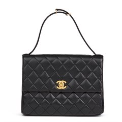 Chanel Black Quilted Lambskin Vintage Classic Top Handle Clutch