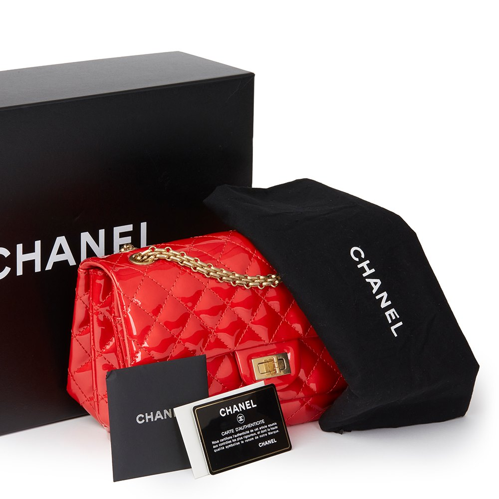 Chanel Red Quilted Patent Leather 2.55 Reissue 225 Accordion Flap Bag