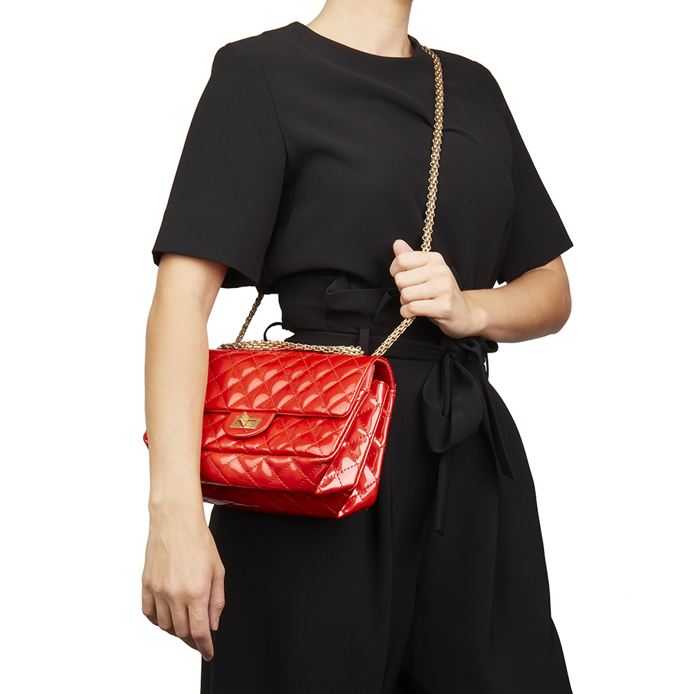 27255cbf72ad Chanel Red Quilted Patent Leather 2.55 Reissue 225 Accordion Flap Bag