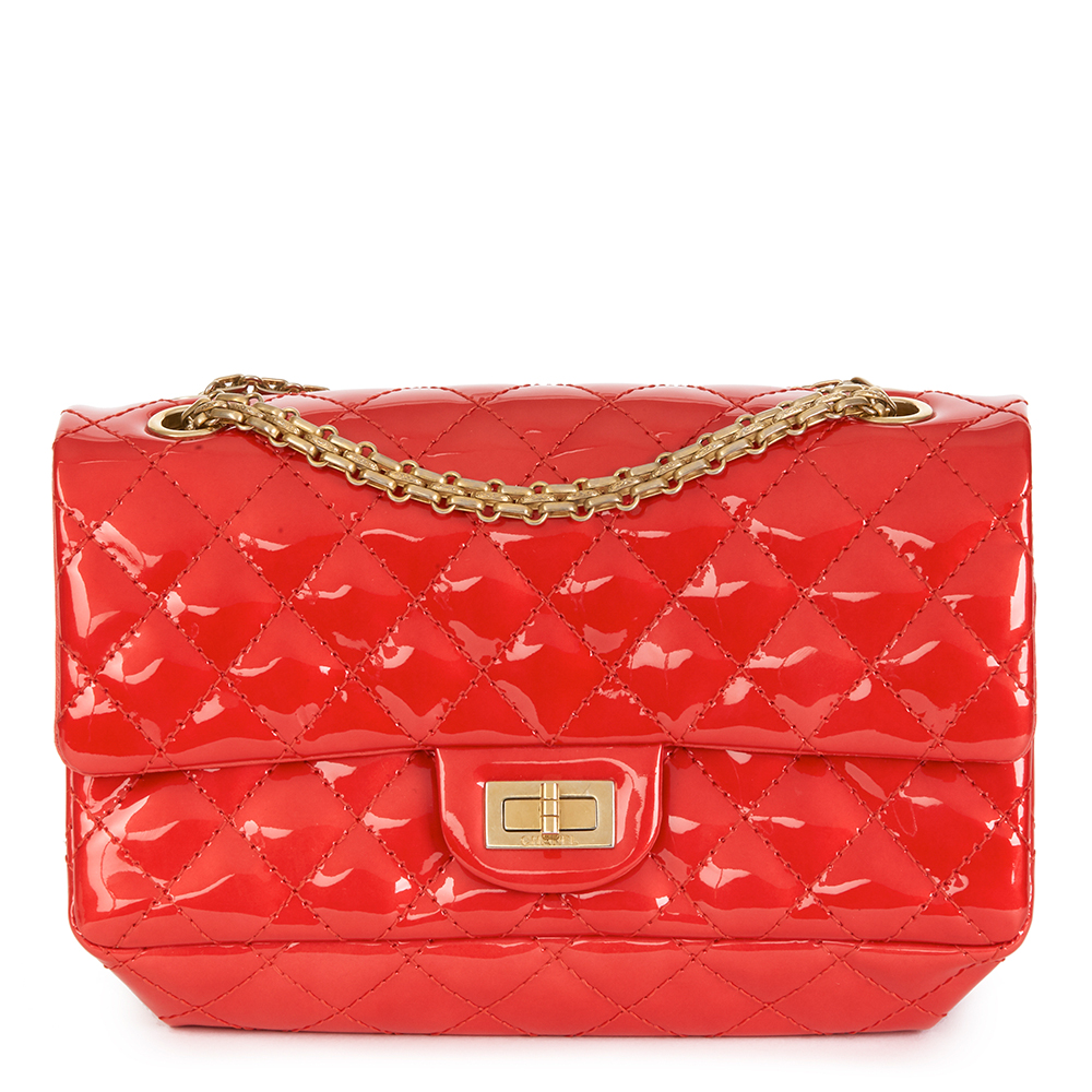 4744e478ff75 Chanel Red Quilted Patent Leather 2.55 Reissue 225 Accordion Flap Bag
