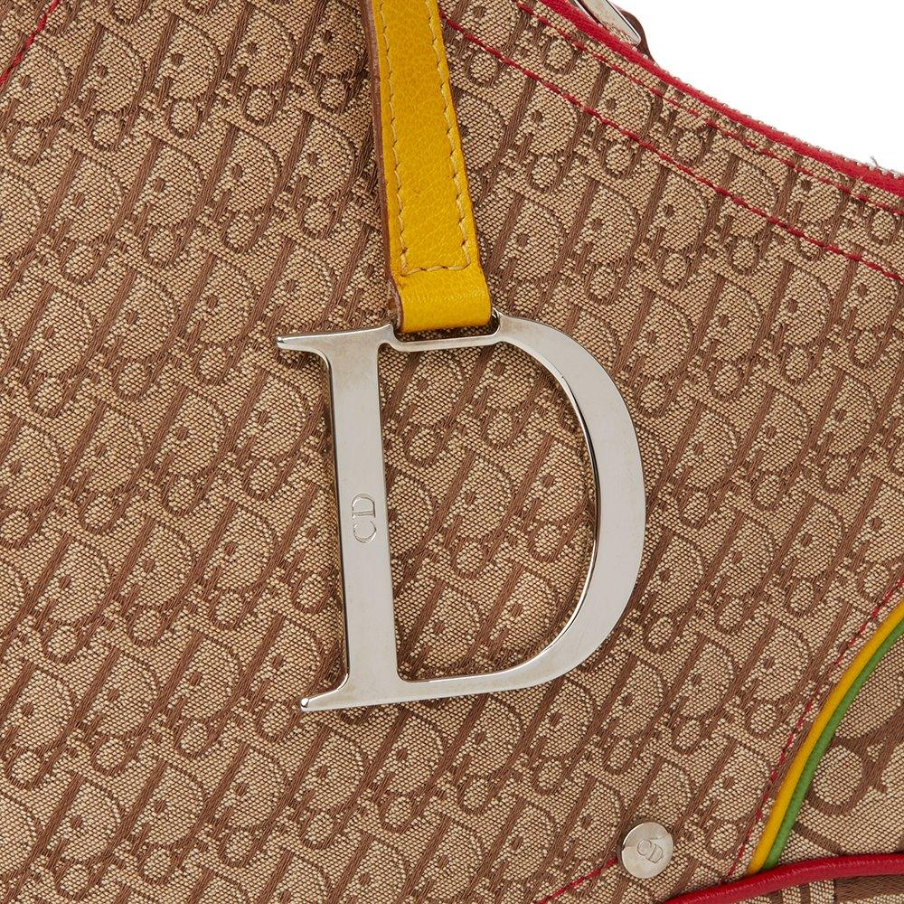 Christian Dior Brown Monogram Canvas Rasta Saddle Bag