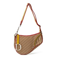 Christian Dior Brown Monogram Canvas Rasta Saddle Bag