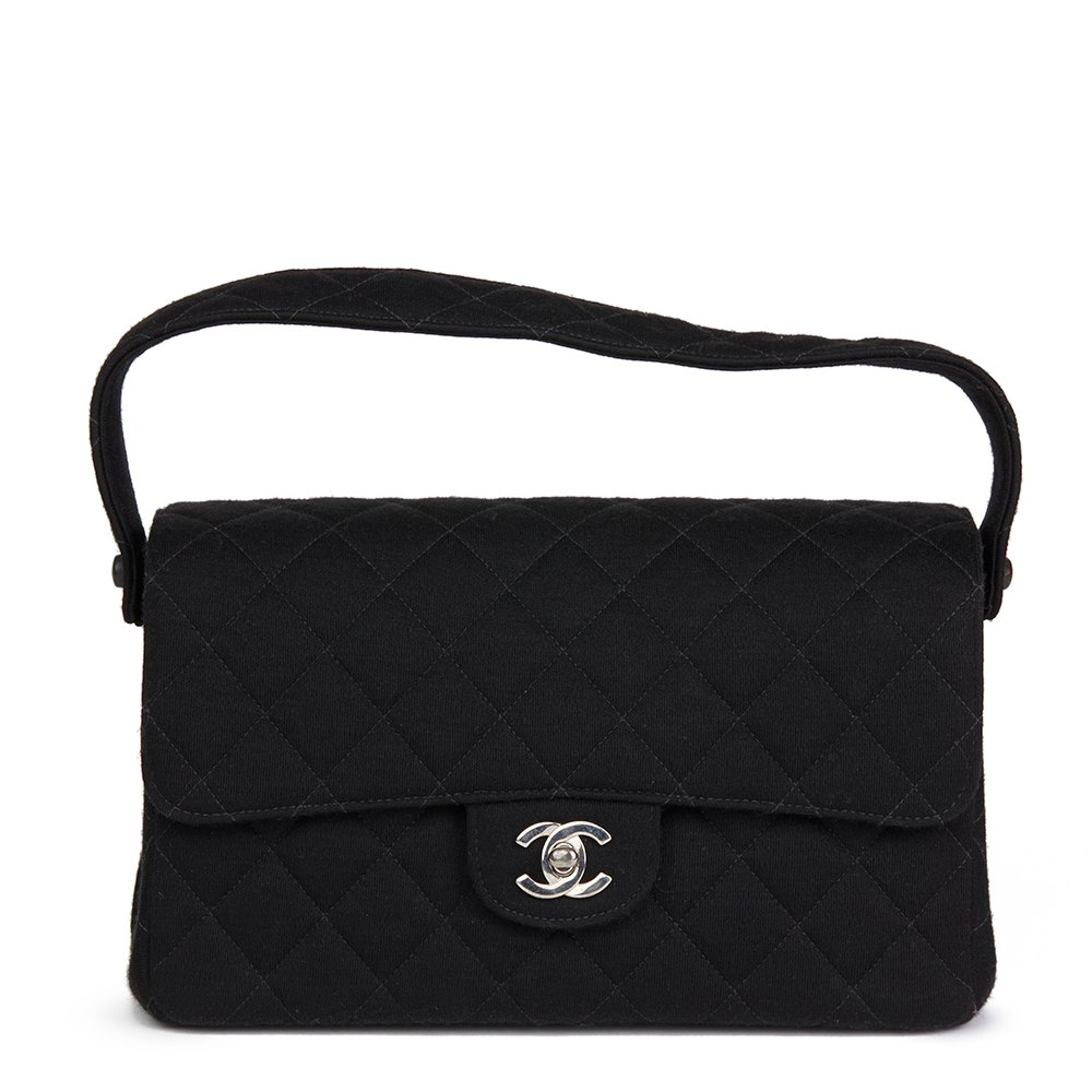 7c846bc04ed7 Chanel Black Quilted Jersey Vintage Medium Double Sided Classic Flap Bag