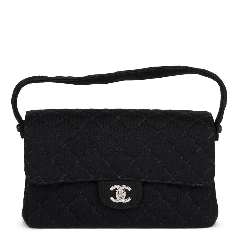 5cfb330d9688 Chanel Black Quilted Jersey Vintage Medium Double Sided Classic Flap Bag