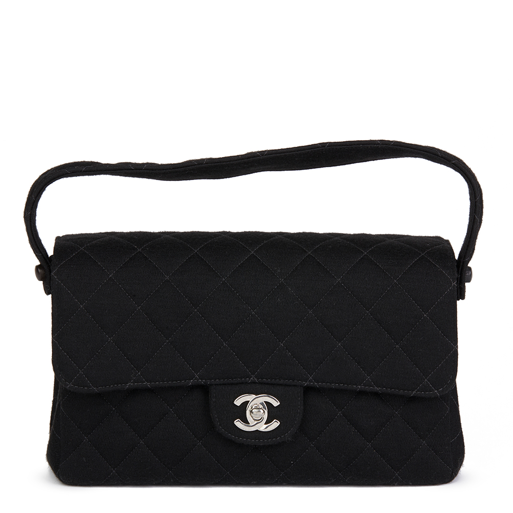 dd7442ab4141 Chanel Black Quilted Jersey Vintage Medium Double Sided Classic Flap Bag