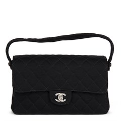 Chanel Black Quilted Jersey Vintage Medium Double Sided Classic Flap Bag
