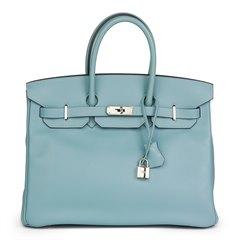 Hermès Ciel Swift Leather Birkin 35cm