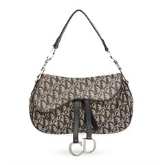 Christian Dior Black Monogram Canvas Double Saddle Bag