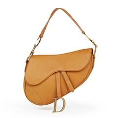 Christian Dior Tan Calfskin Leather Saddle Bag