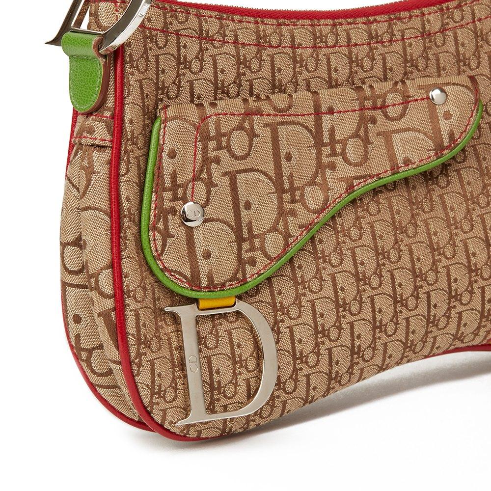 Christian Dior Brown Monogram Canvas & Yellow Calfskin Leather Rasta Crossbody Double Saddle Bag
