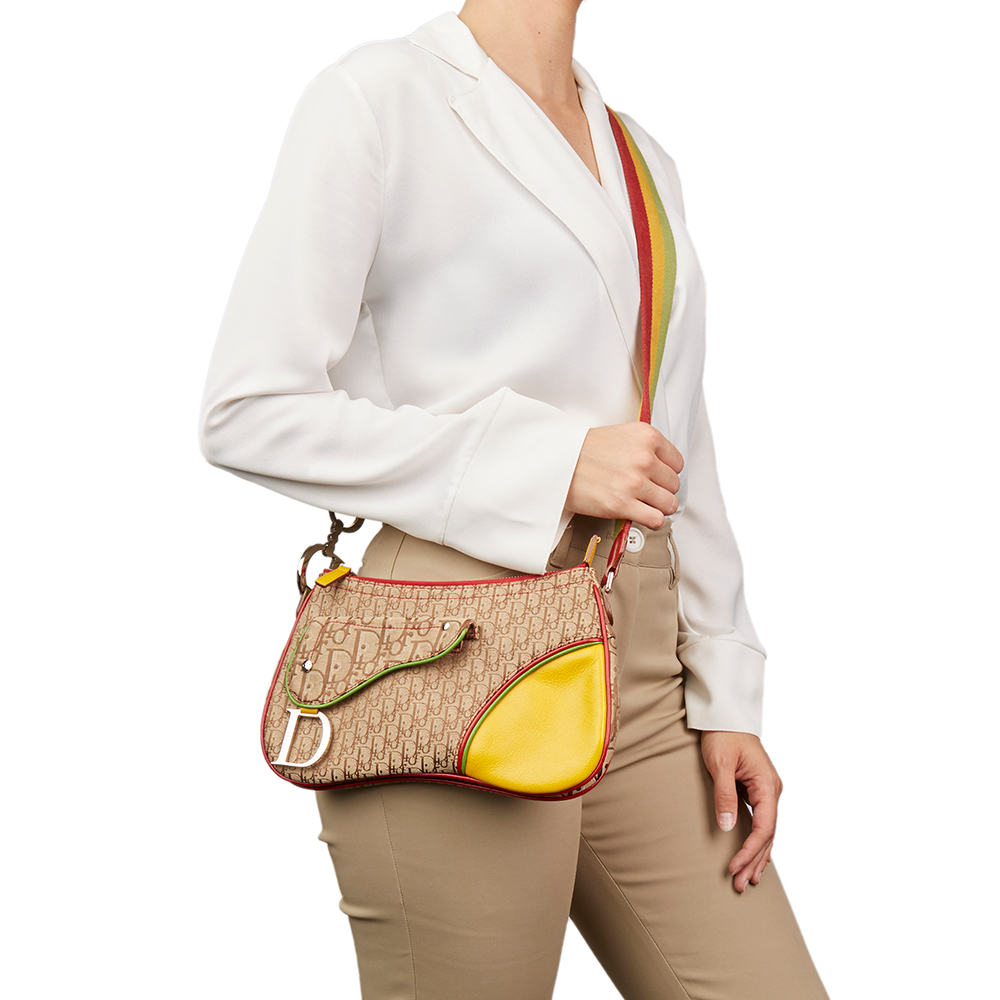 d8bf0f54882 Christian Dior Brown Monogram Canvas & Yellow Calfskin Leather Rasta  Crossbody Double Saddle Bag