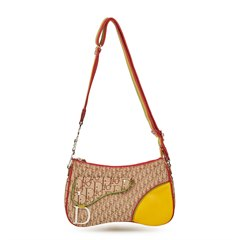 Christian Dior Brown Monogram Canvas & Yellow Calfskin Leather Rasta Crossbody Double Saddle Bag