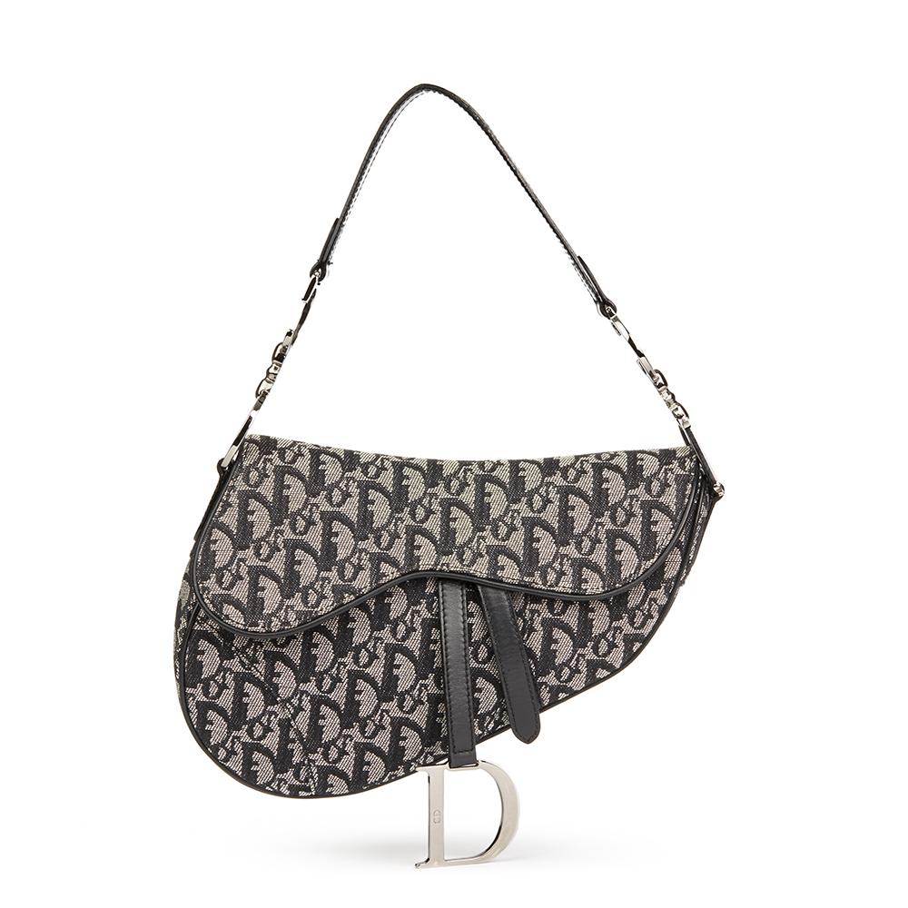 Dior Black Monogram Canvas Saddle Bag