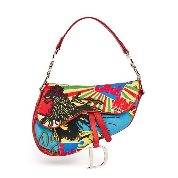 Christian Dior Multicolour Canvas & Red Calfskin Leather Rasta Mania Saddle Bag