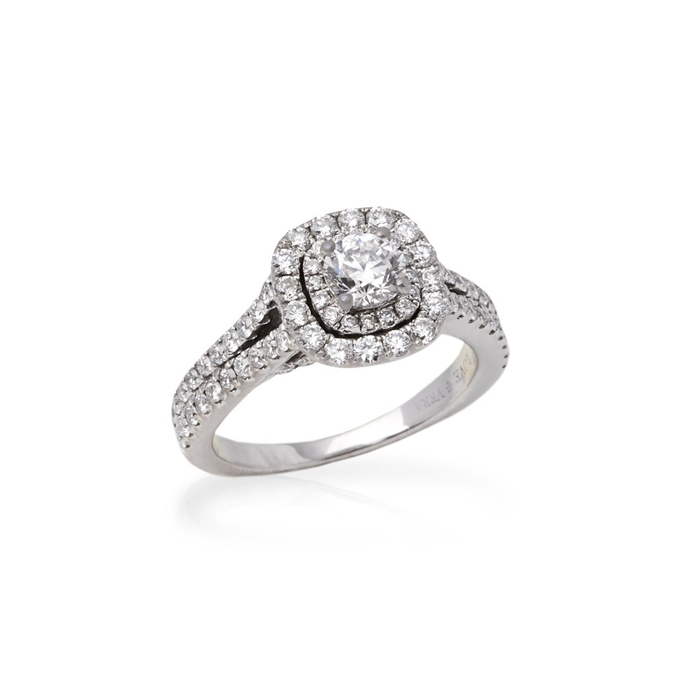 Vera Wang 14k White Gold Double Halo Diamond Engagement Ring