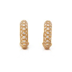 Cartier 18k Yellow Gold Diamond Huggie Hoop Mimi Earrings