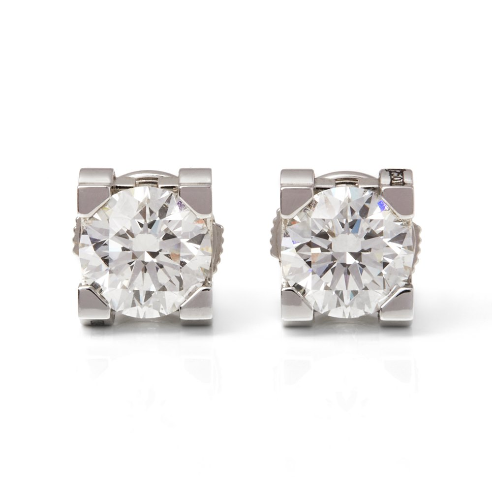 Cartier 18k White Gold Diamond C De Cartier Stud Earrings
