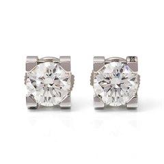 Cartier 18k White Gold Diamond C De Cartier Stud Earrings