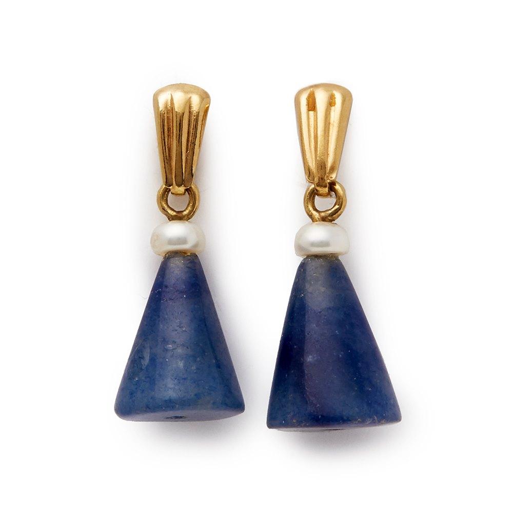 Cellini 18k Yellow Gold Aventurine & Cultured Pearl Earrings