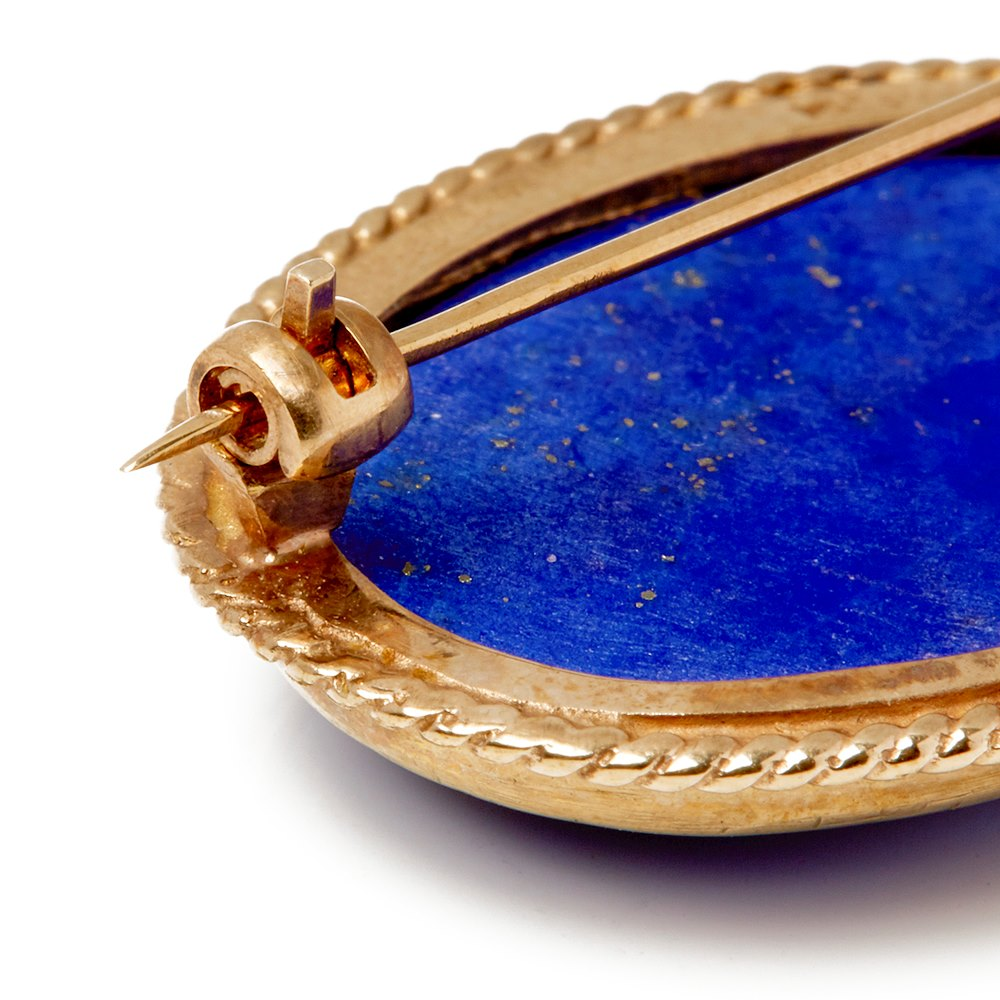 Cellini 9k Yellow Gold Lapis Lazuli Brooch