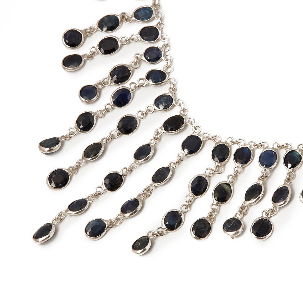 Cellini Silver Sapphire Drop Necklace