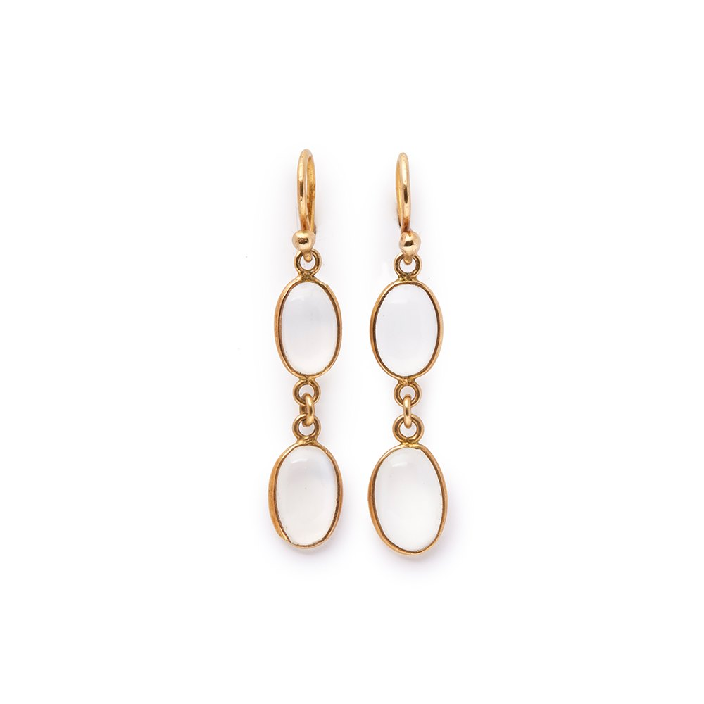 Cellini 9k Yellow Gold Moonstone Earrings