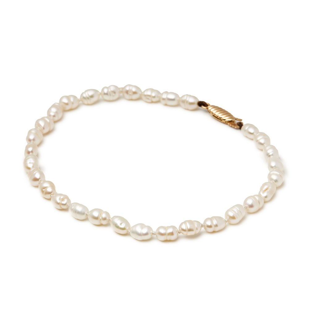 Cellini 9k Yellow Gold Cultured Pearl Bracelet