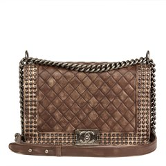 Chanel Brown Quilted Studded Distressed Lambskin New Medium Le Boy